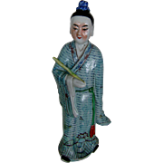 SALE Vintage TALL 14 inch Chinese Porcelain Statue Figure