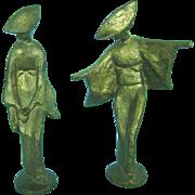 SALE Vintage Mid Century Modern Bronze Pair of Japanese Geisha Girl Statues Figurines