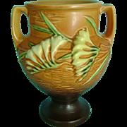 Vintage Roseville Pottery Burnt Orange Tangerine Brown Freesia Vase