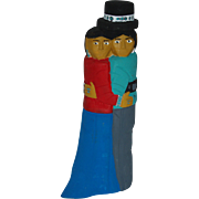 "12"" Navajo Folk Art Hand Carved Dancing Couple"
