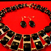REDUCED Egyptian revival Black lucite squares bib necklace with dangle earrings