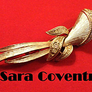 """REDUCED Vintage Sarah Coventry Huge 5"""" Brooch with Amber and Clear Rhinestone in gold ton"""