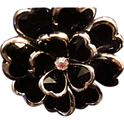 REDUCED VINTAGE Jet black glass flower ring in silver tone stretch size 7