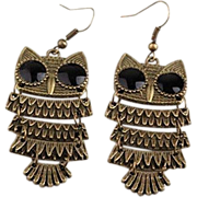SALE VINTAGE brass tone  jointed owl charm with pierced ear wires