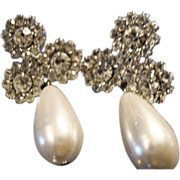SALE VINTAGE faux tear drop pearl pierced earrings with pave rhinestones