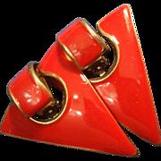 SALE VINTAGE Red Enamel Triangle clip on Earrings in gold tone