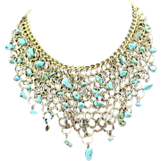SALE VINTAGE faux Turquoise nugget bib necklace in gold tone