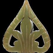 SALE VINTAGE ART DECO Carved avacado Green Bakelite Dress Clip brooch C 30's