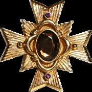 SALE VINTAGE AVON Maltese Cross brooch pin/pendant in gold tone