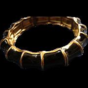 SALE VINTAGE BAMBOO Reed Black Enamel stretch bracelet on gold tone