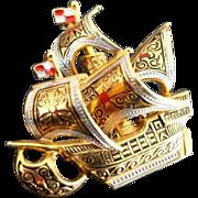 SALE VINTAGE Maltese Cross Damascene ship pin brooch in gold tone