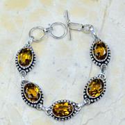 SALE VINTAGE Silver tone Bracelet with 5 Citrine faceted oval stones