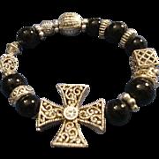 SALE VINTAGE Maltese cross bead Bracelet in Silver tone filigree and