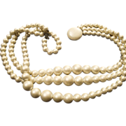 SALE VINTAGE 3 strand necklace of graduated Lustrous faux white pearl c 50's