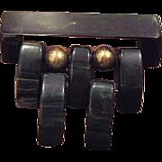 SALE VINTAGE Marbled Green Bakelite brooch of stacked wedges hinged