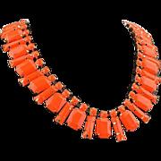 SALE VINTAGE Egyptian revival orange lucite faceted rectangle bib necklace gold tone