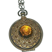 SALE VINTAGE signed AVON Gold tone locket pendant necklace with amber rhinestone