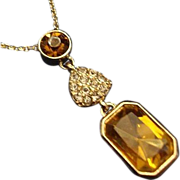 SALE VINTAGE Amber Rhinestones pendant with tiny rhinestone heart necklace in gold tone