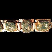 SALE VINTAGE GOLD tone link bracelet with natural jade stone chips