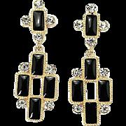 SALE VINTAGE Gold tone black Enamel Cross Dangle pierced Earrings with rhinestones