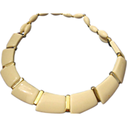SALE VINTAGE Egyptian Revival bib Necklace choker cream Lucite sections with Gold tone spacers