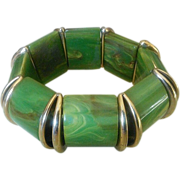 SALE VINTAGE Marbled Green Bakelite stretch bracelet with gold tone spacers