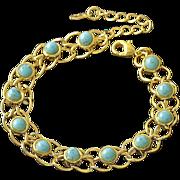 SALE VINTAGE 9K real Gold filled link bracelet with faux turquoise stones