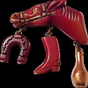 SALE VINTAGE BAKELITE deep carved Horse head brooch/ pin with charms