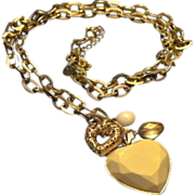 REDUCED VINTAGE necklace designed by CR  Cream Lucite puffy heart with smaller gold tone ...