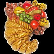 SALE VINTAGE Cornucopia Brooch/Pin  Fruit Salad in early plastic
