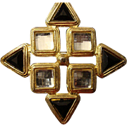 VINTAGE Large Maltese cross in glossy back enamel and mirrored clear stones in gold tone