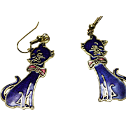 SALE VINTAGE cloisonne blue enamel art KITTEN charm dangle earrings in gold tone