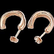 SALE VINTAGE 18k ROSE Gold plated hoop stud earrings