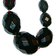 SALE VINTAGE Estate Necklace of Black Bakelite Faceted Beads C 30s
