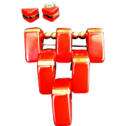 SALE VINTAGE BAKELITE ART DECO set Triangle brooch and earrings in Bright red C 40S