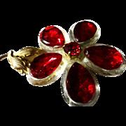 """SALE VINTAGE Large Red & Clear Lucite Teardrop 5 Petal Flower Brooch made in """"West German"""