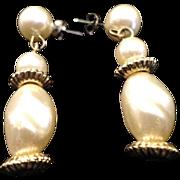 SALE VINTAGE Baroque faux pearl dangle Gold Tone Etruscan Inspired pierced Earrings