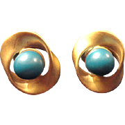 SALE VINTAGE BRUSHED post earrings gold tone with turquoise lucite bead in center