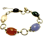 SALE VINTAGE EGYPTIAN Revival Bracelet with glass gemstones in silver tone
