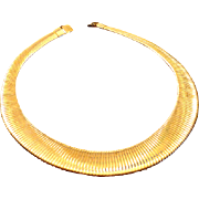 SALE VINTAGE Wide Egyptian Revival Gold tone snake chain collar necklace