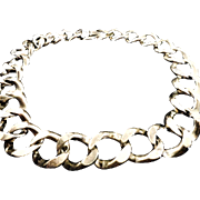 SALE VINTAGE 50s Classic necklace Heavy silver tone linked chain