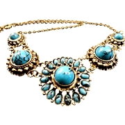 SALE VINTAGE South Western inspired dark silver tone necklace has faux turquoise stones in 5 .