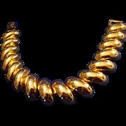 VINTAGE signed Napier gold tone polished links large and domed