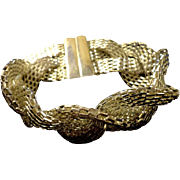 SALE VINTAGE Intricate Bright silver tone braided mesh link bracelet
