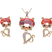 SALE VINTAGE 18K gold plated kitten set pendant necklace and post earrings with pink crystal