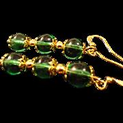 SALE VINTAGE Emerald green glass dangle pierced earrings