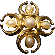 SALE VINTAGE Maltese Cross with 5  faux pearls in gold tone