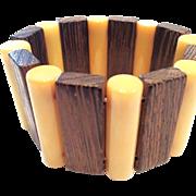 SALE VINTAGE stretch Bakelite bracelet butterscotch rods and alternating wood sections