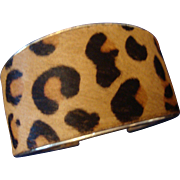 SALE VINTAGE Leopard printed leather gold tone cuff