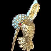 REDUCED VINTAGE Brooch/pin designed by Marcel Boucher of a hummingbird in flight